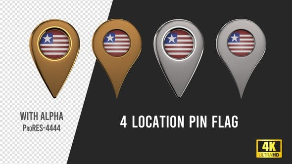 Liberia Flag Location Pins Silver And Gold