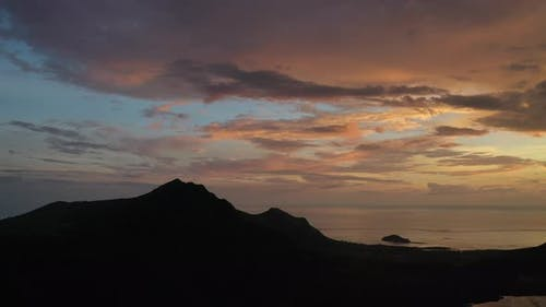 Amazing Sunset From the Height of Mount Le Morne Brabant and the Waves of the Indian Ocean in