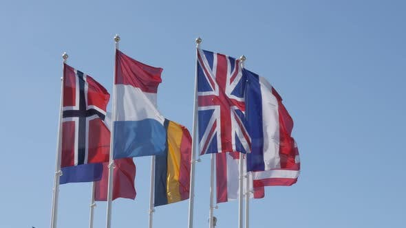 Thumbnail for Lot of different  flags waving on flag pole 4K 2160p 30fps UltraHD footage - Silky fabric of nationa