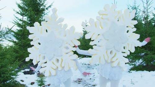 Schneeflocken Zeichen springen