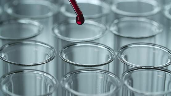 Blood Drops In A Clear Laboratory