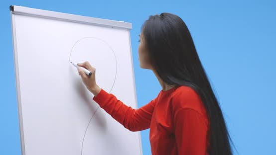 Young Woman Drawing Heart on Flipchart