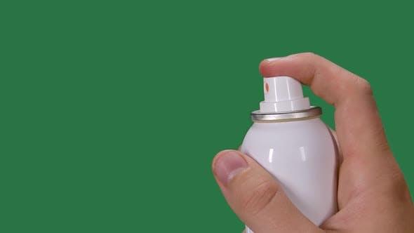 Mans Hand Sprays Disinfectant Aerosol Spray