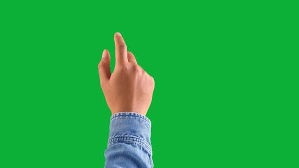 Thumbnail for Mixed Race Deep Skin Tone Male Hand Makes a One Tap Gesture with Forefinger on Chromakey Green
