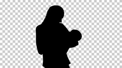 Silhouette  mother gives , Alpha Channel