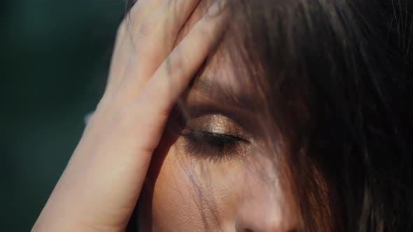 Beautiful Woman Model Posing Before Camera, Closeup