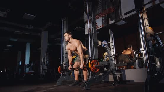 Thumbnail for Athletic Muscle Man Training with Barbell Machine Workout Sport Body