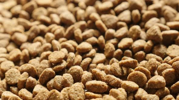 Thumbnail for Close-up pile of cat or dog pellet meal slow tilt 4K 2160p 30fps UltraHD footage - Protein rich  pet