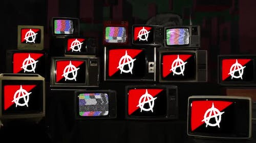 Anarchist Flags and Televisions from the 60s, 70s, 80s and 90s.
