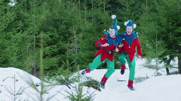 Thumbnail for Christmas elves enjoying the winter