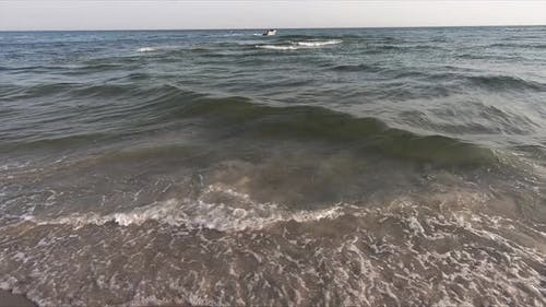 Wavy Sea and Clear Sky in Summer