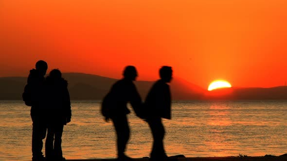 Thumbnail for People Silhouette And Sunset And Sea 1
