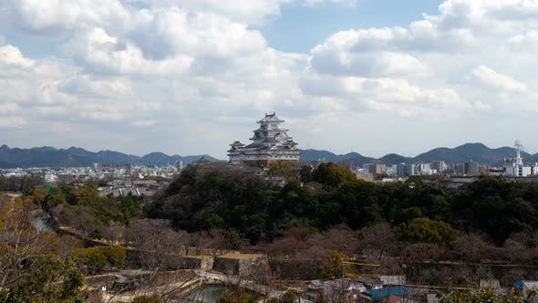 Thumbnail for Japanese Himeji Castle on Hill By City Timelapse
