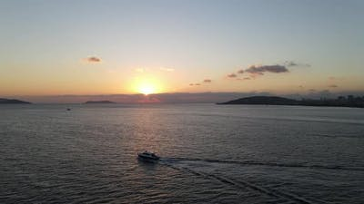 Sunset Island and Boat