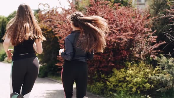 Thumbnail for Zwei sportliche Frauen joggen morgens zusammen