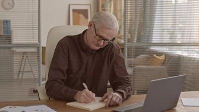 Busy Elderly Businessman at Work