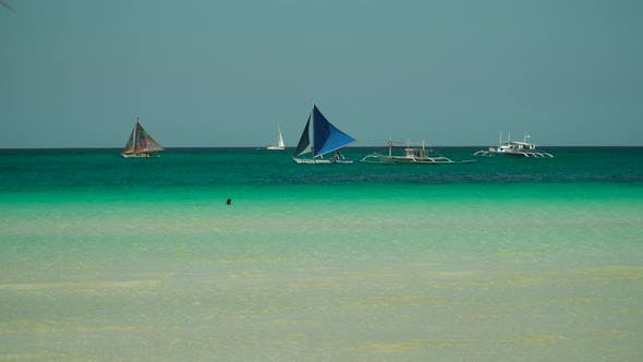 Tropical Beach and Blue Sea, Philippines