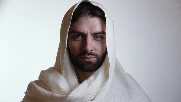 Portrait of Jesus on the White Background