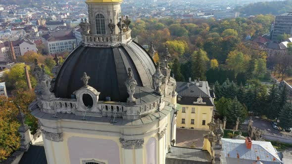 Thumbnail for Aerial Video of Saint Yura Church in Central Part of Old City of Lviv, Ukraine