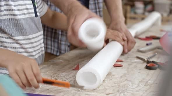 Cutting Styrofoam Roll