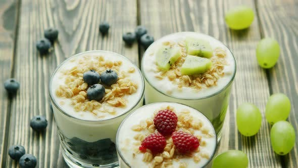 Thumbnail for Glasses with Fruit and Yogurt Desserts