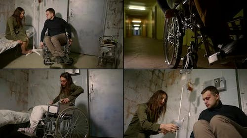 Collage of Mentally Ill People Who Are in a Psychiatric Hospital, a Man Sitting in a Wheelchair, and