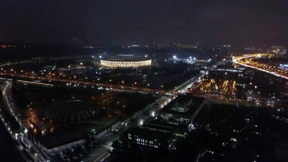 Night Moscow with Luzhniki Stadium, Aerial View