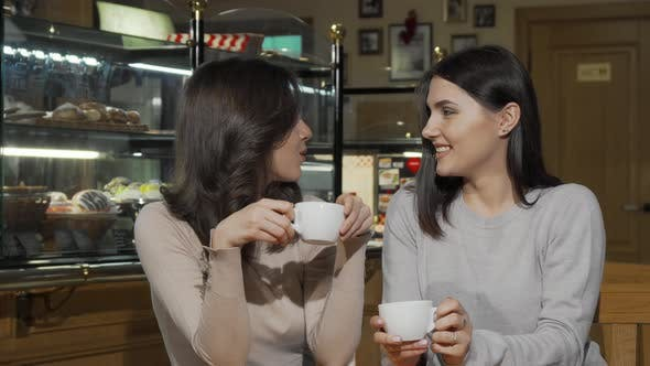 Thumbnail for Two Happy Young Female Friends Smiling To the Camera at the Coffee Shop