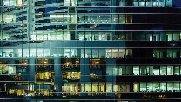 Thumbnail for Timelapse of business office building at night