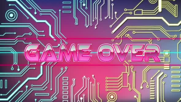 Animation of Game Over words on video game screen with elements of computer circuit board