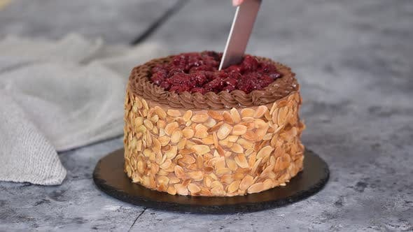 Thumbnail for Cutting a Chocolate Cherry Cake with Almond Flakes.