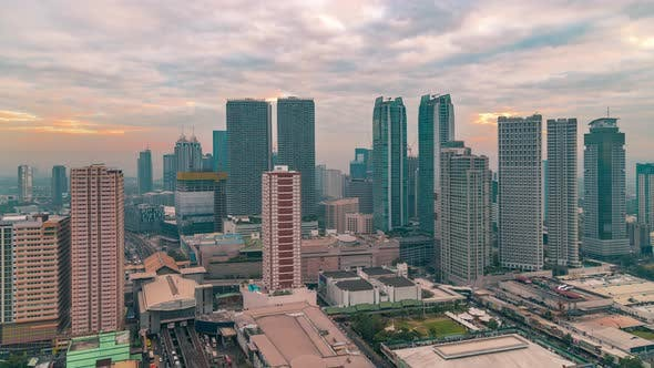 Thumbnail for Panorama View Sunrise over Skyscapers in Manila, Luzon, Philippines