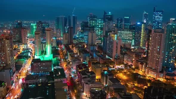 Cover Image for Aerial Night View on the Makati Metro District of Manila