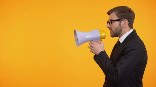 Businessman Yelling in Megaphone, Announcement of Breaking News, Place for Text