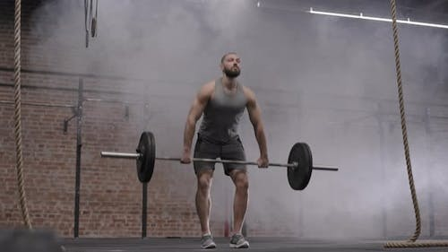 Male Powerlifter Lifting Barbell