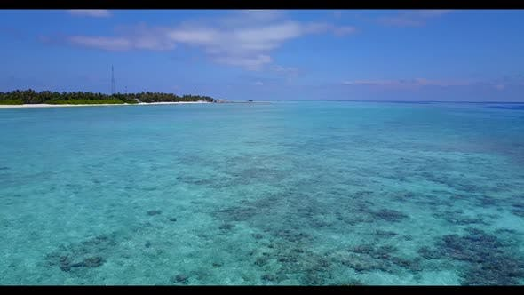 Thumbnail for Aerial view abstract of tranquil lagoon beach journey by aqua blue sea and white sand background of