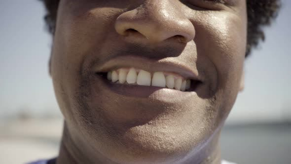Thumbnail for Closeup Shot of African American Man with Toothy Smile