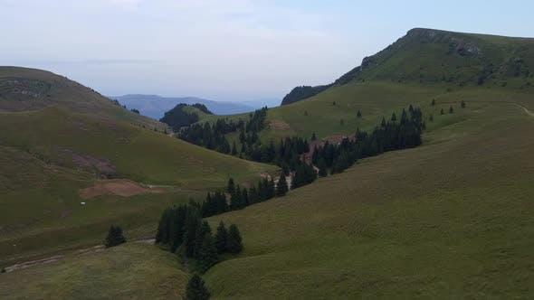 Mountain Area In Bucegi Mountains, Aerial View, Romania