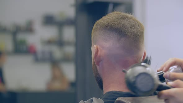 a Man's Haircut in a Hairdresser