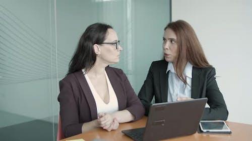 Caucasian Female Entrepreneurs Talking, Video Chatting