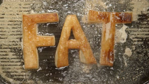 Thumbnail for FAT letters fry in oil in a grill - boils