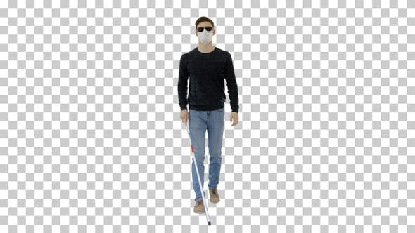 Thumbnail for Blind man in face mask and in dark glasses, Alpha Channel