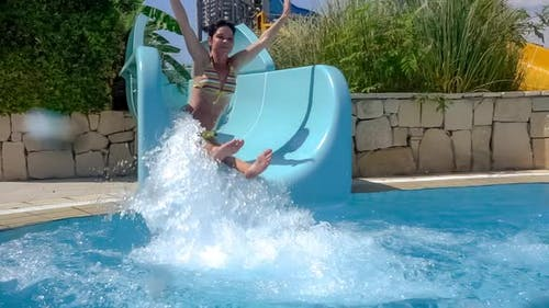 Descent From the Waterslide on Holiday Aqua Park