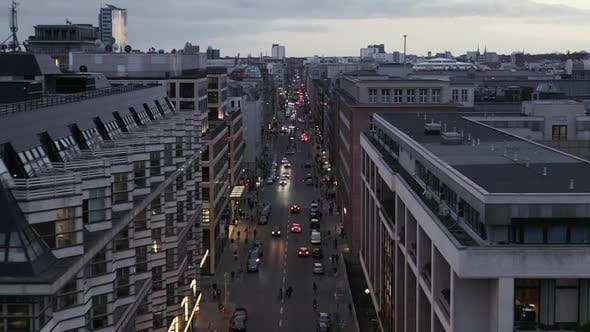 Thumbnail for AERIAL: Low View Into Berlin Mitte Friedrichstrasse and Car Traffic City Lights, Subway Train