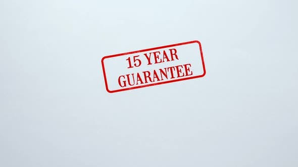 Thumbnail for 15 Year Guarantee Seal Stamped on Blank Paper Background, Product Quality