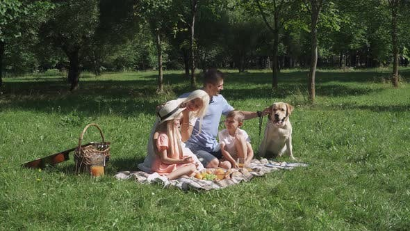 Picnic in Nature, Parents and Children Sit on a Blanket and Communicate, Family with Dog Relax in a