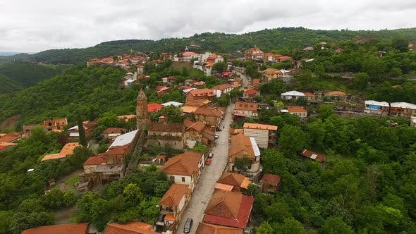 Fantastic Aerial View of Old Touristic Sighnaghi Town in Georgia