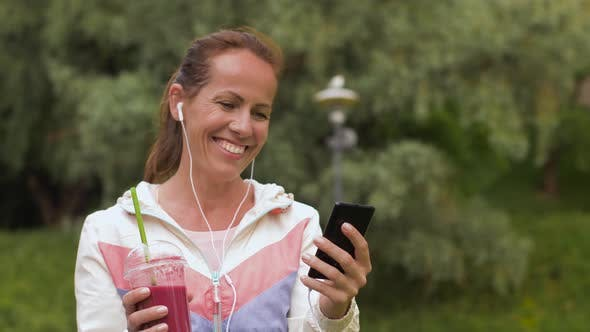 Thumbnail for Woman with Smartphone and Shake Listening To Music