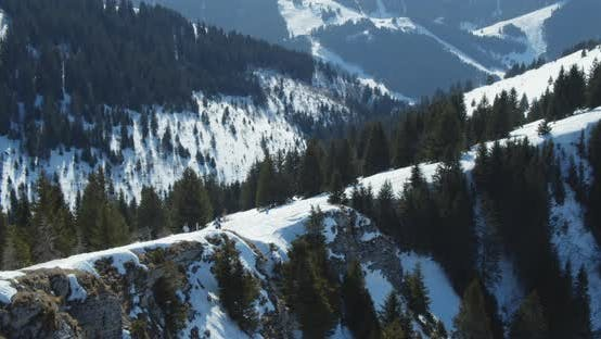 Thumbnail for Majestic View From the Top of Snow-Capped Mountain Peaks and Pine Trees