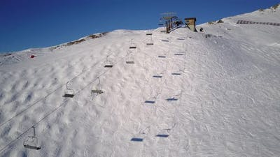 Aerial Drone Video Chairlift Skiing Slope